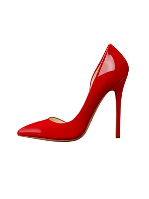 shiny red woman shoe