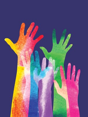 Overlapping silhouettes of Hands in a watercolour texture, applause, volunteer