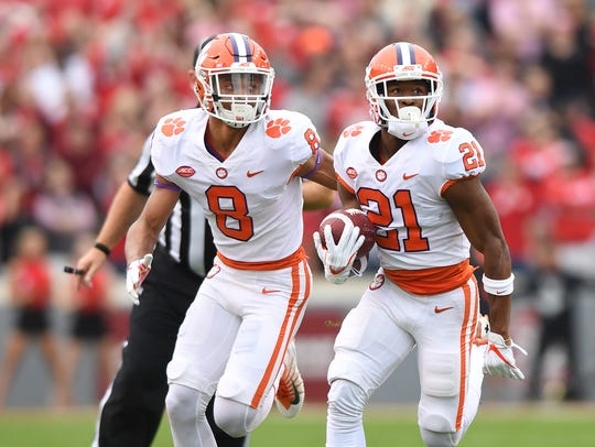 Clemson wide receiver Ray-Ray McCloud (21) returns
