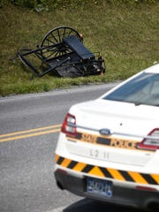 An overturned buggy sits off the road after being struck from behind. Police and fire responded to a report of an accident between a buggy and a car at 12:27 p.m., Aug. 3, on Ramona Road in Jackson Township. An Amish woman was ejected from the buggy, but was coherent at the scene. She was transported for a head injury.