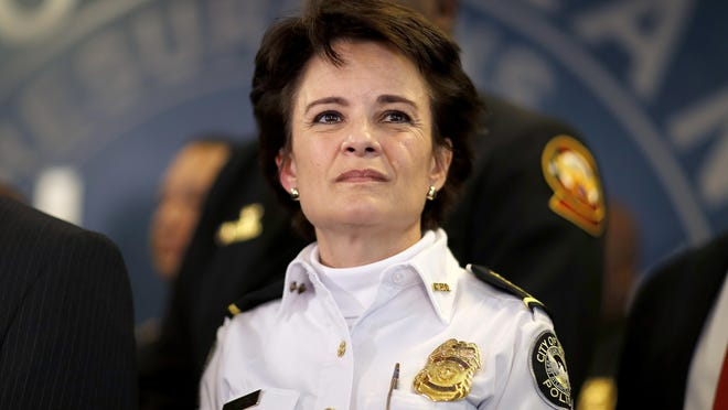 Atlanta Police Chief Erika Shields, seen here in a January 2018 file photo, stepped down Saturday after 27-year-old Rayshard Brooks was fatally shot by a police officer in a struggle after a field sobriety test.