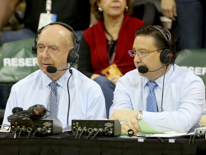 ESPN's Dick Vitale, left, and Dave O'Brien call an