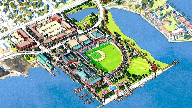 This 2005 conceptual rendering by Urban Design Associates shows what the earliest vision was for the Community Maritime Park.