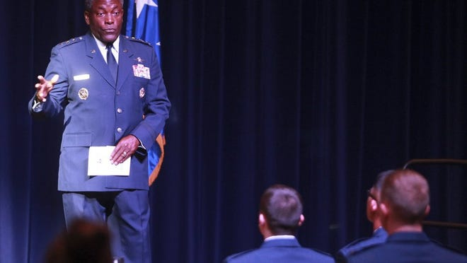 Guest speaker retired Lt. Gen. Ronnie D. Hawkins Jr., speaks to graduating cadets during Angelo State University's Air Force ROTC Detachment 847 Spring Commencement Ceremony Friday, May 13, 2016. Michelle Gaitan/Standard-Times