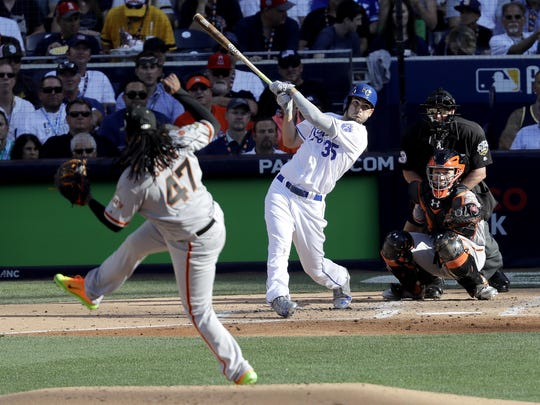 American League's Eric Hosmer, of the Kansas City Royals, hits a home run off National League starting pitcher Johnny Cueto, of the San Francisco Giants, during the second inning of the MLB baseball All-Star Game, Tuesday, July 12, , in San Diego.