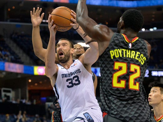 Memphis Grizzlies center Marc Gasol (33) drives against