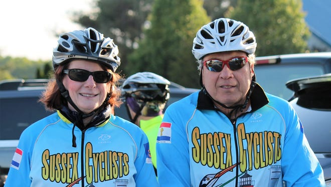 Betsy Collins, left, and her husband, Brant Collins, of Dagsboro, were among about 35 cyclists who rode in silence to highlight the rules of the road.