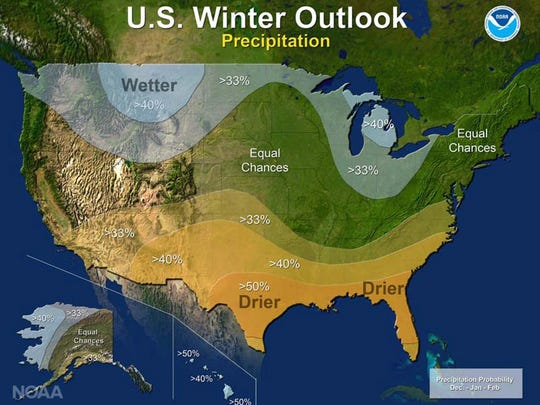 The winter outlook for precipitation for December 2016, and January and February 2017