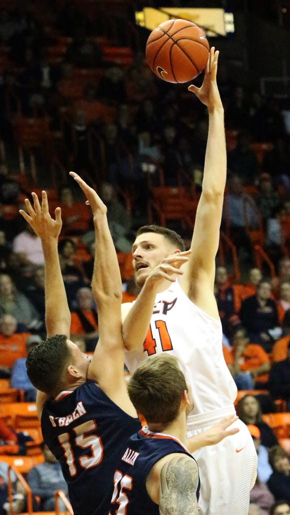 UTEP center Matt Willms hooks a shot in for two points