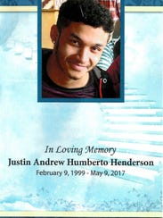 The cover of the funeral program for Justin Andrew
