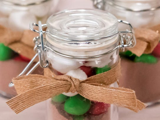 The finished hot cocoa shots gift jars.