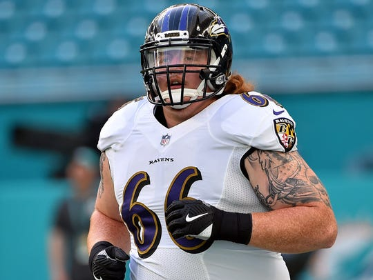 Baltimore Ravens guard Ryan Jensen (66)