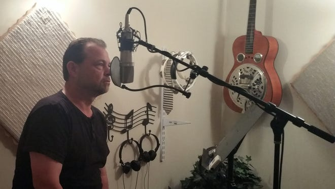 Ray Govero records music for his album he hopes to have funded via Kickstarter.