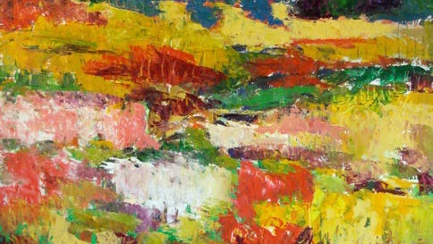 Abstract painting of a Virginia field by Barbara Heile.