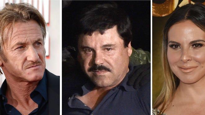Sean Penn, drug kingpin Joaquin 'El Chapo' Guzman, and Mexican actress Kate del Castillo.