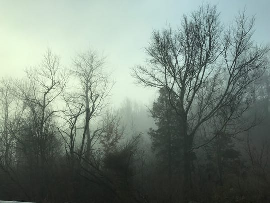 Heavy fog is seen from Pellissippi Parkway in Knoxville