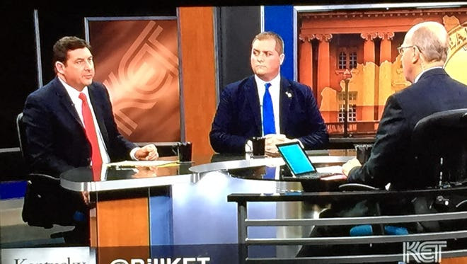 Mike Hogan (left) and Whitney Westerfield (center) are interviewed in a KET debate by Bill Goodman (left)