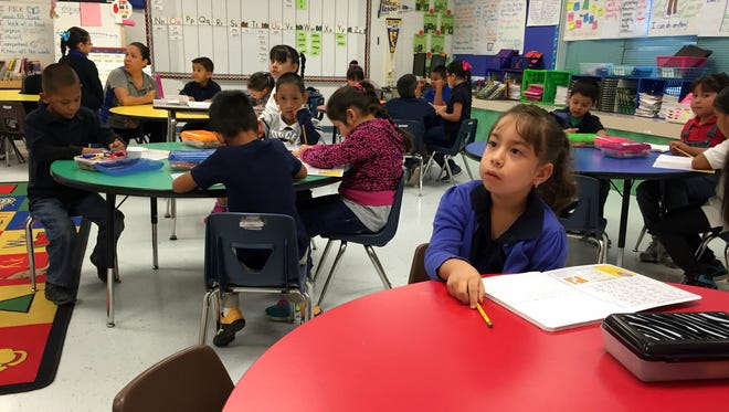 A student in takes a break during a class at Robert R. Rojas Elementary School on Oct. 12.