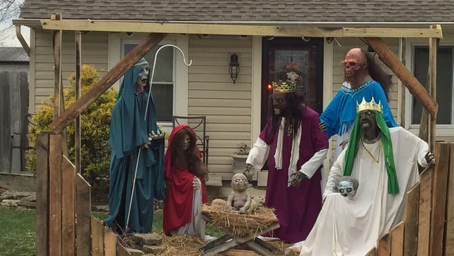 This Dec. 4, 2015 photo shows the accessory structure housing the zombie nativity scene in Rossmoyne, Ohio.