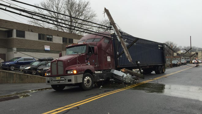 A truck knocked down power lines on Lafayette Avenue in North Castle on Thursday, Dec. 17, 2015.