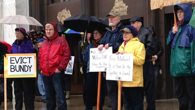 About 40 people came out to the Capitol to support Malheur National Wildlife Refuge Jan. 19, 2016..