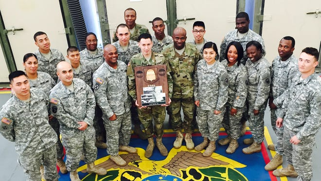 Soldiers who run the Supply Support Activity, or warehouse, for Echo Company, 1st Battalion, 43rd Air Defense Artillery Regiment recently received an award from Forces Command for being the best warehouse in the far-flung command.
