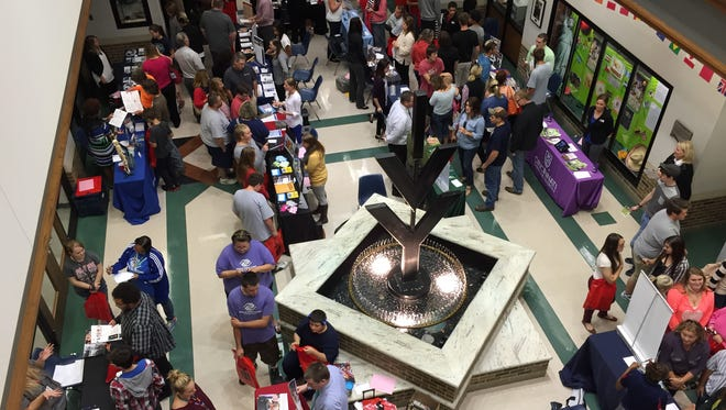 Prospective students filled the lobby of Ivy Tech Community College's Johnson Hall for the 2015 Eastern Indiana College Fair.
