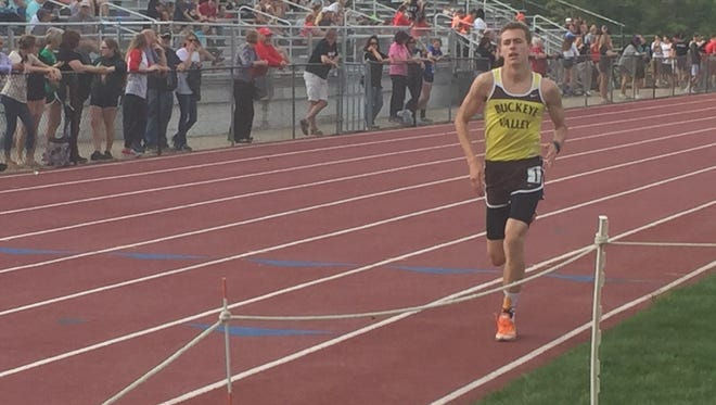Buckeye Valley sophomore Zach Kreft runs to the finish line in the boys 1,600 meters Thursday during the Mid Ohio Athletic Conference Track Championships at Mount Gilead. Kreft won the 800, 1600 and 3200 Thursday, and  anchored the winning 4x800 realy team to a victory on Tuesday.