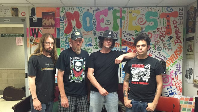 Local band VAPE at WHRW studios:  Bryan Vallese (drums), Dano Voodie (bass), James Osterhout (lead guitar) and Sonny Weeks (lead vocals).
