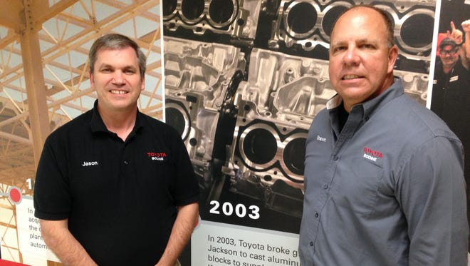 Shawn Daly (right), general manager and plant manager at Toyota Bodine Aluminum is pictured with Jason Bates, administration manager at the Jackson facility.