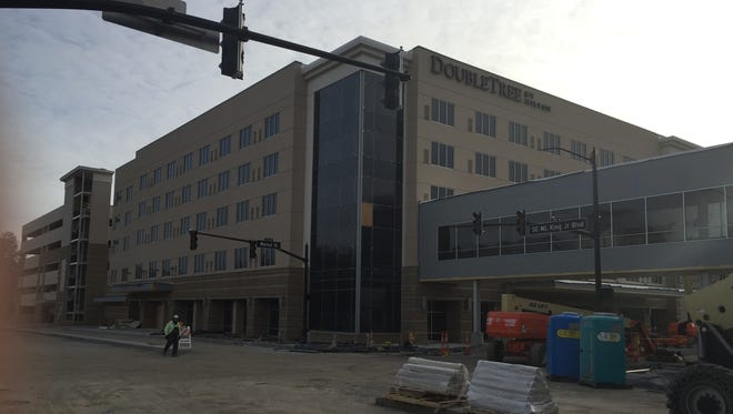 The Hilton DoubleTree Hotel in Downtown Evansville is nearing completion.