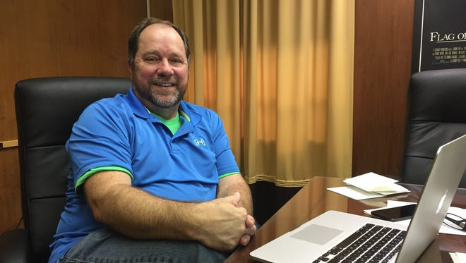 """Executive producer Rodney Ray talks about """"Cowboy & Indiana"""" at his Monroe office on Monday."""