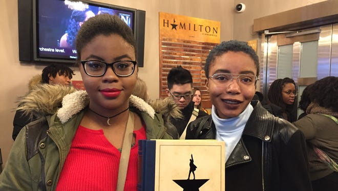 Janea Herbert and Mina Bunch, seniors at Thornton High School, performed on the Hamilton stage. Thornton seniors were admitted into the Hamilton Education Program that helps Title I schools see the production at a discounted rate.
