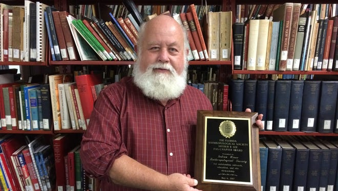 Indian River Anthropological Society director Bob Gross accepted the Arthur R. Lee Chapter Award from the Florida Anthropological Society at the FAS conference in Jacksonville.