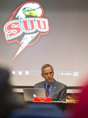 SUU President Scott Wyatt listens during the university's board of trustees meeting on Friday in the Hunter Conference Center.
