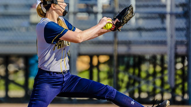 Kortney Simon of DeWitt pitches to an Eaton Rapids batter during their Softball Classic 1st round game Monday May 16, 2016 at Ranney Park in Lansing. Simon pitched a shut-out in the 7-0 Panther win. KEVIN W. FOWLER PHOTO