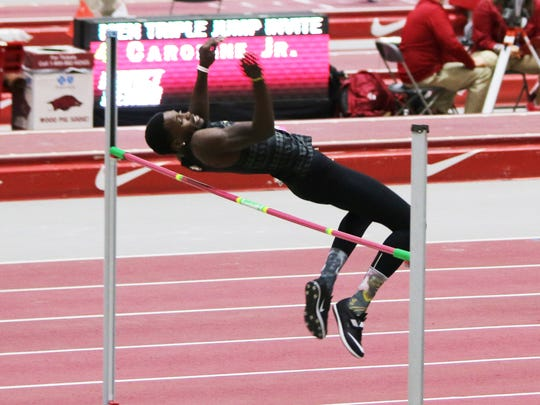 FSU's Corion Knight has a high jump attempt at an indoor meet at Arkansas.