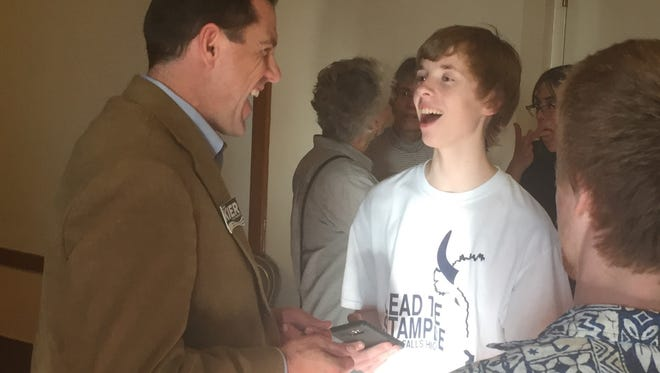 Zach Schermele shares a laugh with Grant Kier, the Democrat from Missoula who is running for U.S. House.