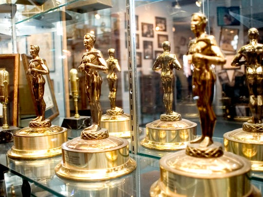 A group of Telly Awards are displayed at the House of Broadcasting.