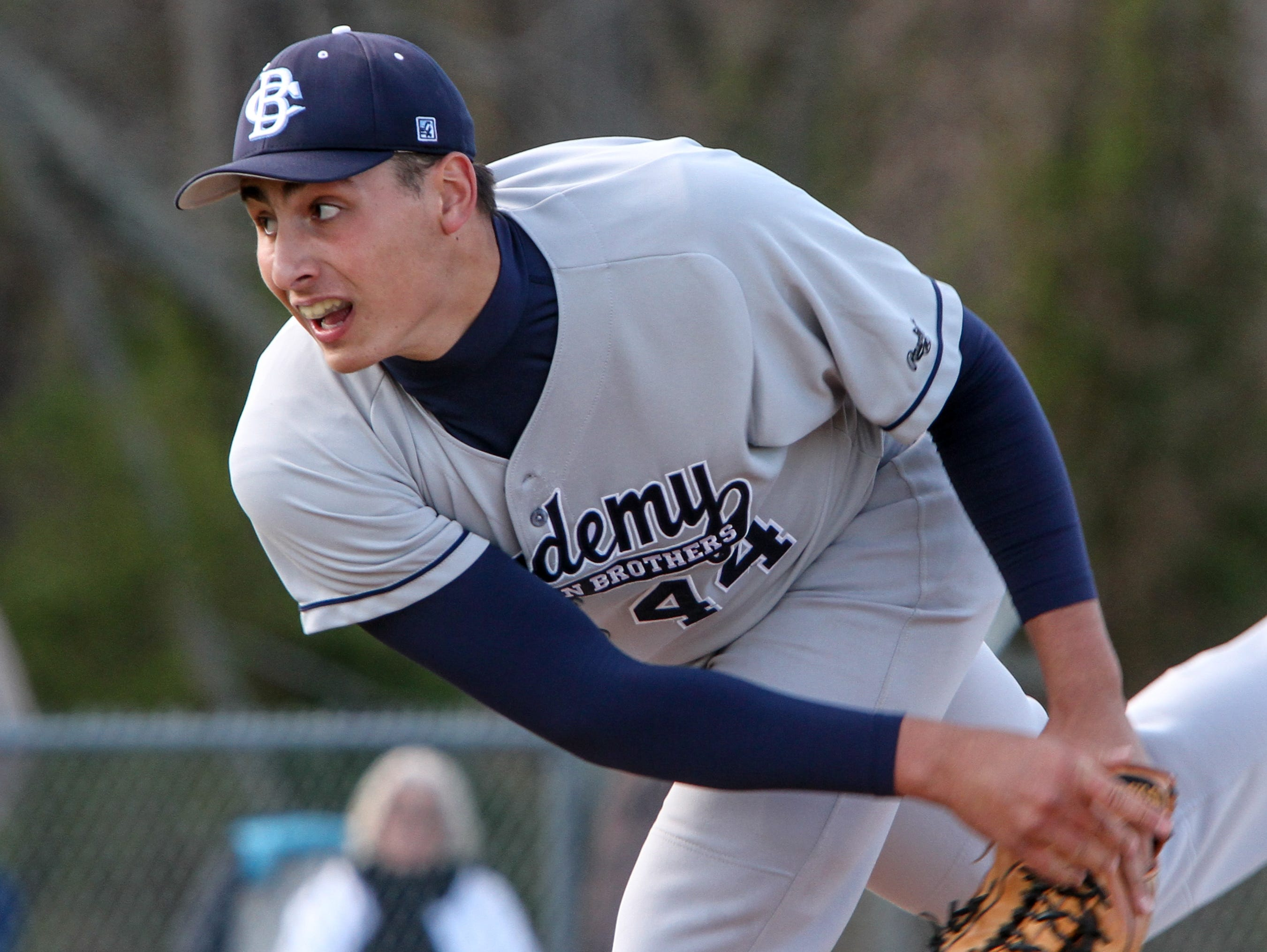 Christian Brothers Academy junior right-hander Luca Dalatri, shown pitching against Marlboro at Marlboro on April 24, was the winning pitcher in the Colts' 3-2 win over Manalapan Tuesday in a Monmouth County Tournament semifinal