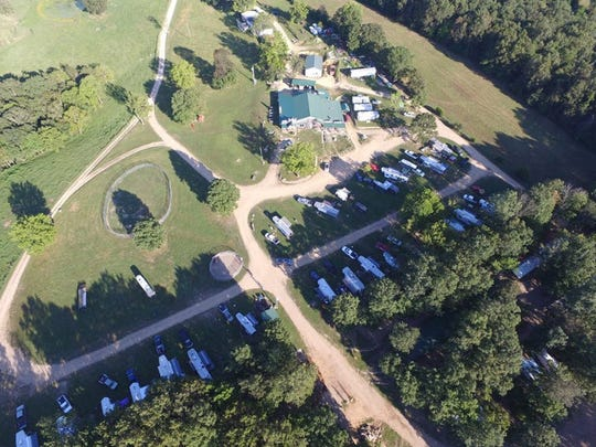 An aerial view of Flying R Ranch, adjacent to the Mark