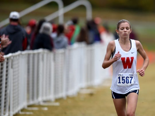 RANK 3: At West High, Megan Murray competes in a cross country meet at Victor Ashe Park. She was state cross country champion in 2015 in the 5K and was state high school track champion in the 1600 and 3200 meters in 2016. (AMY SMOTHERMAN BURGESS/NEWS SENTINEL)