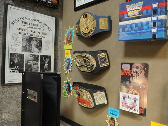 Pro Wrestling memorabilia is displayed Saturday, March 26, 2016, at the Pro Wrestling Hall of Fame inside Big Blue.