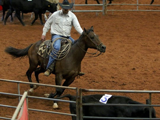 In this file photo, a participant and his horse are seen at a rodeo exhibition in 2016. On Monday, May 18, Wichita County Ag Extension Agent David Graf said there have been at least 29 horse deaths in Wichita and neighboring counties that are unexplained, but could possibly be kleingrass toxicity.