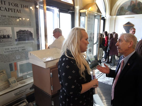 Kendra Heathscott talks with South Dakota Rep. Fred