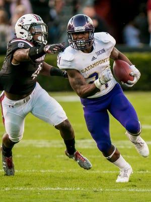 Western Carolina  running back Detrez Newsome (21)