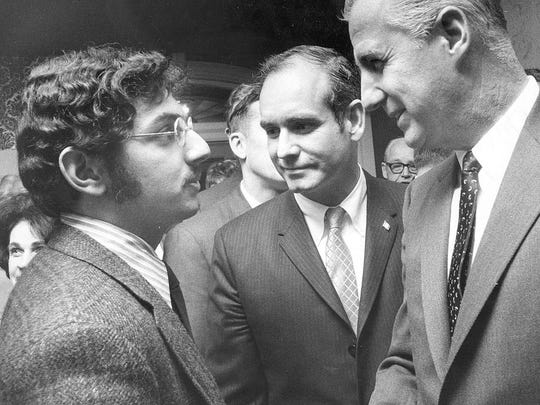 Vice President Spiro Agnew talked with a student and Gov. Robert Ray in 1969.