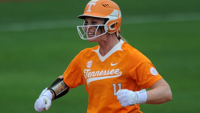 Tennessee's Haley Bearden, shown celebrating during an NCAA super regional game last season, celebrated again Saturday with a walk-off homer to cap a 6-4 victory over LSU and a doubleheader sweep.