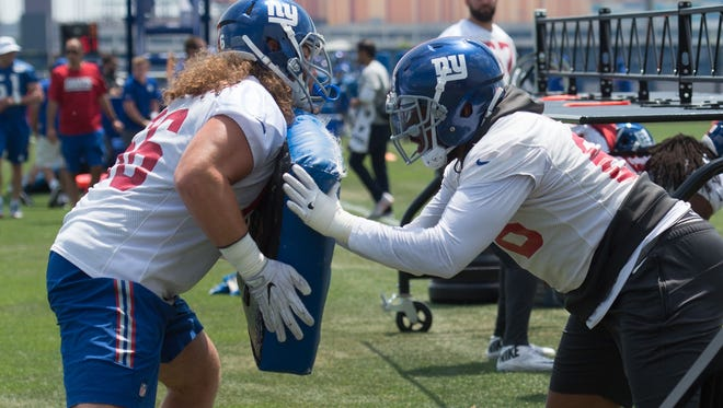 Jun 13, 2017; East Rutherford, NJ, USA; New York Giants offensive tackle Bobby Hart (68) and New York Giants offensive tackle Adam Bisnowaty (66) during mini camp at Quest Diagnostics Training Center. Mandatory Credit: William Hauser-USA TODAY Sports