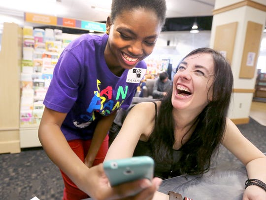 Danisha Harris, left, takes a selfie with author Maggie Stiefvater, right after getting her autograph on Friday March 11, 2016, at the MTSU bookstore, during the Southeastern Young Adult Book Festival. The authors coming to the 2017 event will be revealed Oct. 27.